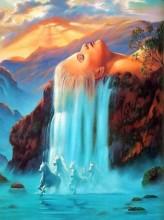 T-C2.2  H532 Diamond Painting Set Waterfall Horses Round Stones 50x40cm