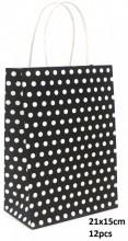 Y-F1.1 PK525-006B Paper Giftbag Dots 21x15cm Black-White 12pcs
