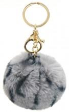 D-E22.1 KY414-002E Fluffy Bag-Keychain 7cm Leopard Grey