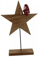 Wooden Star with Santa 26x17x4.5cm