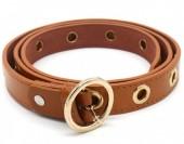 T-J6.2 BELT511-004C PU Belt with Golden Rings 108x2.5cm Adjustable Brown