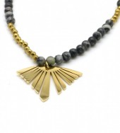 A-D7.3 N010-009G S. Steel Necklace with Stones