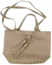 Y-D6.1 BAG535-003C PU Bag Tassels and Studs 36x25x15cm Grey