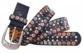 H-D23.1 FTG-059 PU with Leather Belt with Studs 3.5x95cm Black