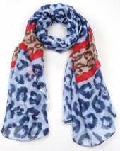 X-F9.1  S312-001 Scarf with Animal Print 85x180cm Blue