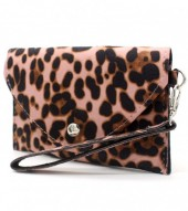 WA220-002 Clutch with Panther Print 17x10cm Old Pink