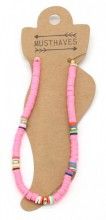 C-D2.1 ANK1925-007 Trendy Anklet with Rubber Beads Pink