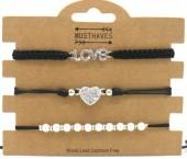 E-B6.1 B2001-056A Bracelet Set 3pcs Love-Heart-Pearls Black