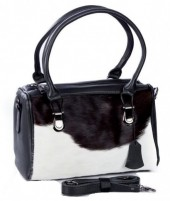 BAG-953 Leather Bag 30x23x11cm Black with Mixed Color Cow Hide