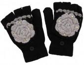 I-A16.1 Kids Gloves with Flower Black