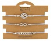 F-A4.1 B316-045 Bracelet Set 3pcs Tree of Life - Infinity - Chain Grey