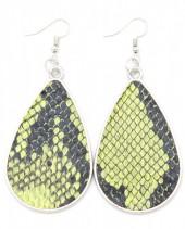 C-A16.2 E220-010 Metal Earrings with PU Snakeskin 7x3.5cm Green