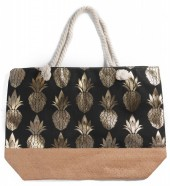 Y-A2.5  BAG217-003 Beach Bag with Wicker and Metallic Pineapple Print 54x40cm Black-Gold