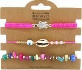 E-A7.5 B2001-055B Bracelet Set 3pcs Shell-Stones-Turtle Pink