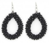 E-A16.2 E007-001 Facet Glass Beads 4.5x3.5cm Black