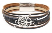 D-A2.2 B104-003 Leather Bracelet with Tree of Life Black