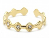 D-A4.1  R110231G S. Steel Ring Crystals Adjustable Gold