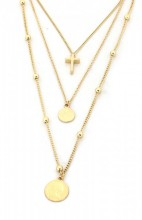 E-F4.4  N224-005 Necklace 3 layers Cross and Coins Gold