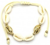 J-F4.1 B2001-026B Bracelet with Shells Gold-Beige