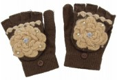 J-C7.1  Kids Gloves with Flower Brown