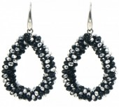 F-C9.2  E007-001L Facet Glass Beads 4.5x3.5cm Black-Silver