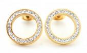 E-F7.1  E410-003 S. Steel Earrings Crystal Circles 15mm Gold