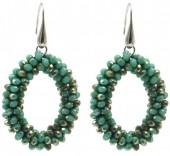 C-B2.2 E007-001 Facet Glass Beads 4.5x3.5cm Green