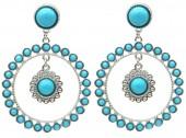 E-E18.5 E1631-002B Earrings Turqoise 5.5x4cm Silver