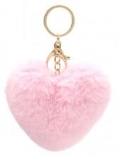 X-J7.1 KY414-003E Fluffy Bag-Keychain 10cm Heart Pink
