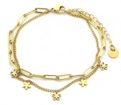 D-B2.2  B2126-038G S. Steel Bracelet Chain and Flowers Gold