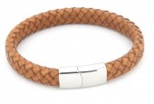 F-E3.2 B105-002 Leather Bracelet with Stainless Steel Lock 21cm Light Brown