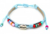 A-F7.4  B221-010 PU Bracelet with Beads and Metal Shell BlueA-F7.4  B221-010 PU Bracelet with Beads and Metal Shell Blue