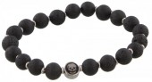 B-F20.1 S. Steel Bracelet with Semi Precious Stones Black