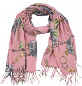 K-C6.2 SCARF405-040D Soft Scarf Chains and Flowers 180x70cm Pink