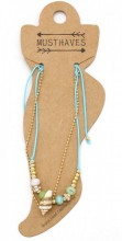 E-B22.1  ANK221-016 Layered Anklet with Shell-Beads-Chain Blue