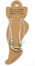 E-B16.1 ANK221-001 Anklet with Shell Beige