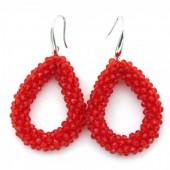 F-B7.1 E007-001 Facet Glass Beads 4.5x3.5cm Red