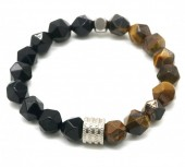 C-C10.2 B023-013 S. Steel with Faceted Tiger Eye 10mm