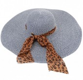 Y-A4.1 HAT210-001B Hat with Leopard Scarf 50cm Blue