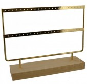 R-B7.1 PK424-003 Wood with Metal Earring Display 27x22x7cm Chrome Gold
