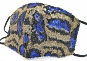 G-C4.1 FM042-035E Glitter Face Mask Leopard - Individually Packed - Gold-Blue