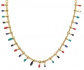 N519-002 S. Steel Necklace Paintdrops Gold