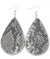 C-D8.1  E220-011 PU Snakeskin Earrings 6x3cm Grey