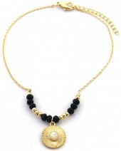 B-D7.1  B2019-044G Anklet with Black Onyx Gold