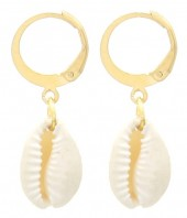 A-C17.1 E2121-037G S. Steel Earrings Shell 1.2x3cm Gold