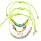 F-D16.1 B316-004 Bracelet Set 3pcs Heats and Beads Green