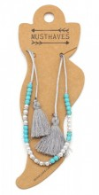 E-D21.1 ANK316-001 Anklet with Pearls-Stones-Tassels Grey