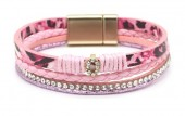 C-F23.1 B1633-010E PU Bracelet Leopard with Crystals Pink