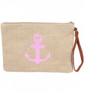 T-C7.2  BAG324-002 Jute Clutch with Anchor Pink