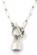 E-A15.2 N2033-020S S. Steel Necklace with 16mm Padlock Silver